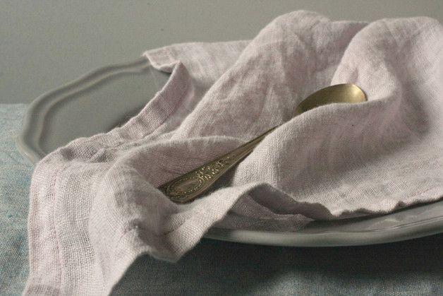 Serwetki lniane obiadowe 2szt. Wrzos 55x55 - LilaLen - Serwetki