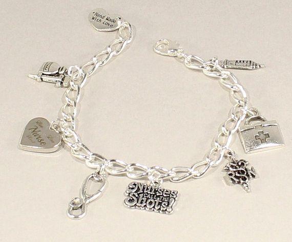 RN Charm Bracelet Gift for RN Nurses Gift Nurse's Silver