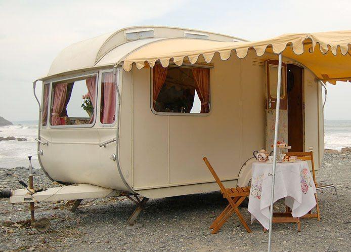 Sweet lil' caravan.: At The Beaches, Vintage Trailers, Sweet, Vintage Caravan, Places, Beaches Houses, Canopies, The Sea, Vintage Campers
