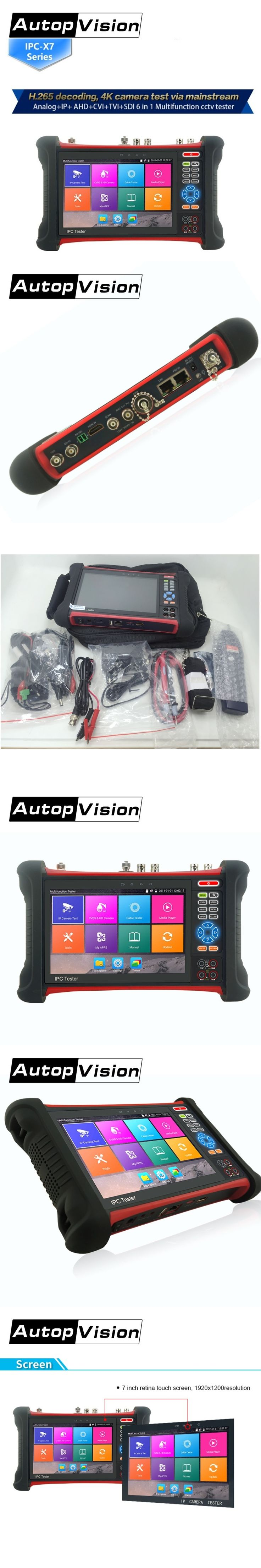 DHL free New H.265 4K 6 in 1 IP SDI TVI CVI AHD CCTV Camera Tester Monitor with Digital Multi-meter,HDMI in/out,POE Camera test
