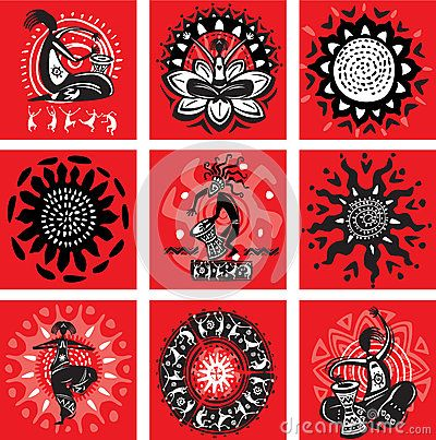 Set of pictures with ethnic motifs