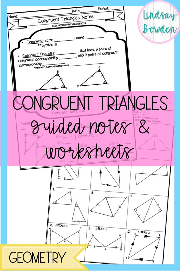 Congruent Triangles Notes and Worksheets Geometry
