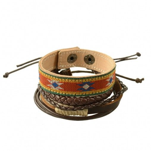 SACHA // Leather men's bracelets € 10,95 #bracelets #leather #aztec #brown