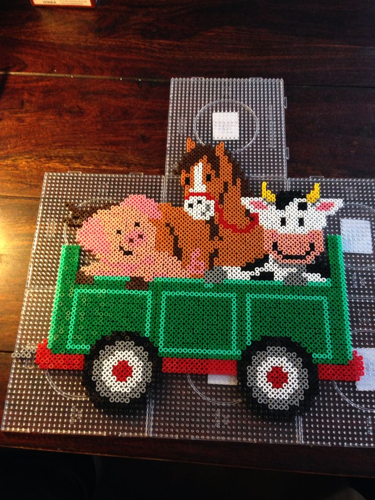 Farm animals hama perler beads by Dorte Marker