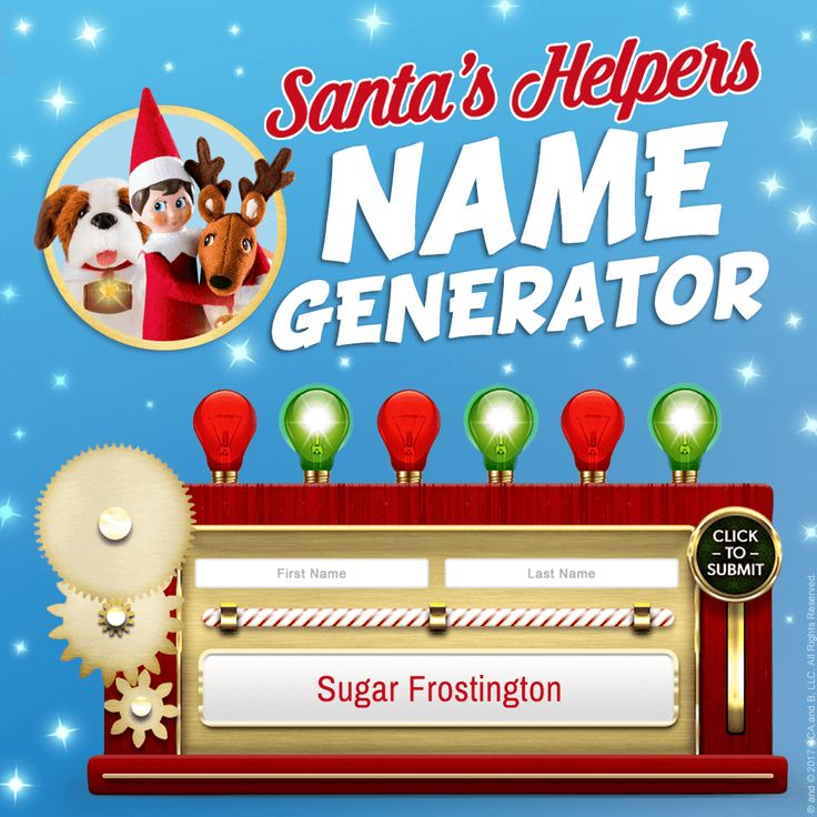 Santa's Helpers Name Generator | Christmas Games | Online Games for Kids | North Pole Games | Name Generators | Elf Names | Elf Pet Names | Elf on the Shelf Ideas