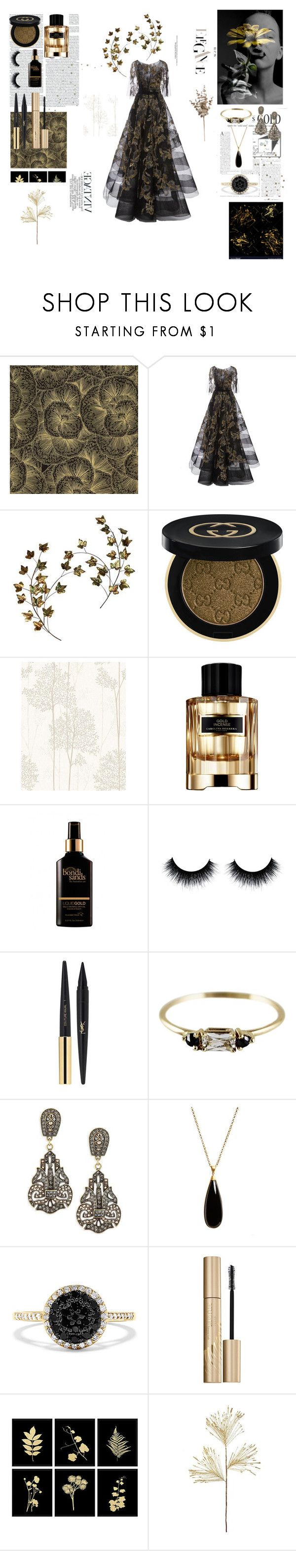 """#PolyPresents: Sparkly Beauty"" by charlotte-sophie-lensen on Polyvore featuring beauty, Marchesa, Gucci, Graham & Brown, Carolina Herrera, Yves Saint Laurent, Heidi Daus, Dean Davidson, Effy Jewelry and Stila"