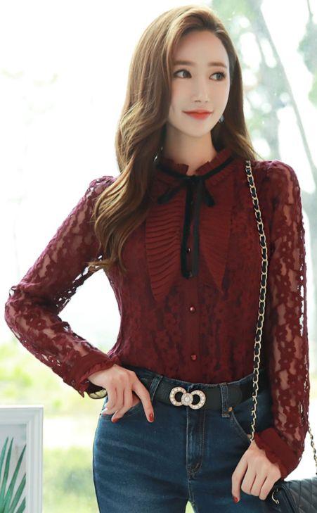 StyleOnme_Velvet Ribbon Tie Lace Blouse #wine #lace #feminine #blouse #koreanfashion #kstyle #kfashion #seoul #dailylook