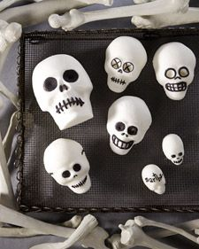 spooky black-and-white sugar-skull decorations for Halloween.