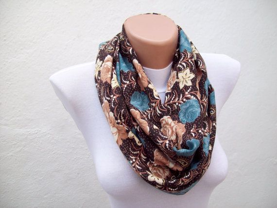 infinity scarfFlower Print Loop scarfFabric by scarfnurlu on Etsy