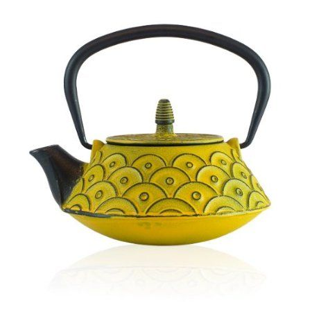 Kasumi Tetsubin Cast Iron Teapot 800ml - Yellow: Amazon.co.uk: Kitchen & Home