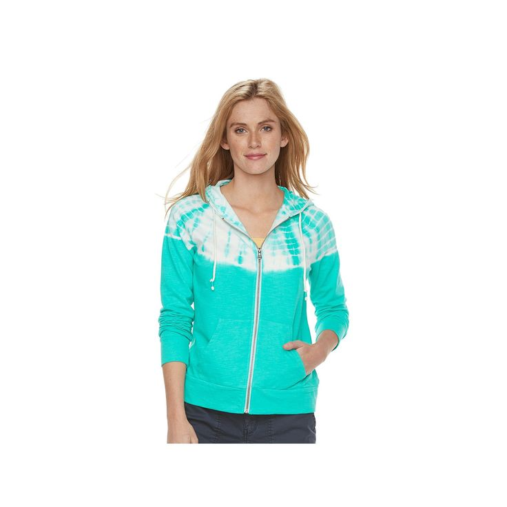 Women's SONOMA Goods for Life™ Tie-Dye French Terry Hoodie, Size: Large, Turquoise/Blue (Turq/Aqua)