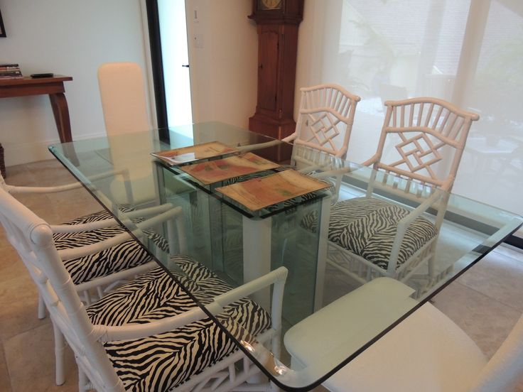My old chairs spray painted white, recovered in zebra...I found the table at a 2nd hand store...everything is coming together!