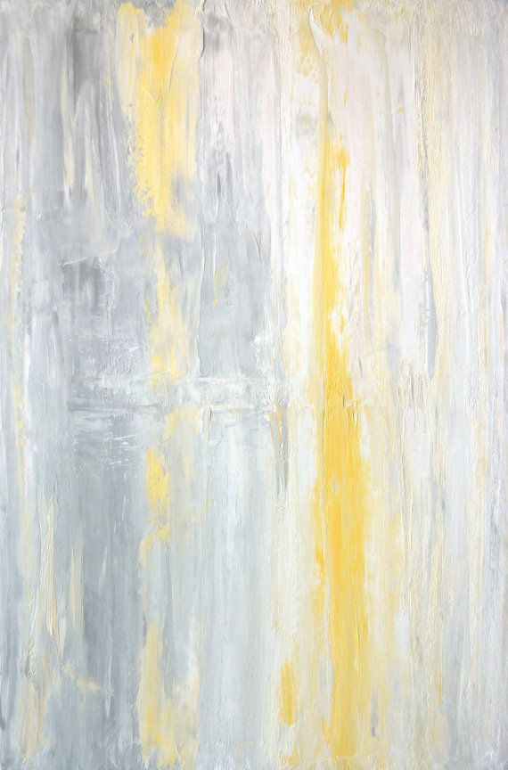 Large Acrylic Abstract Art Painting Yellow White And Grey