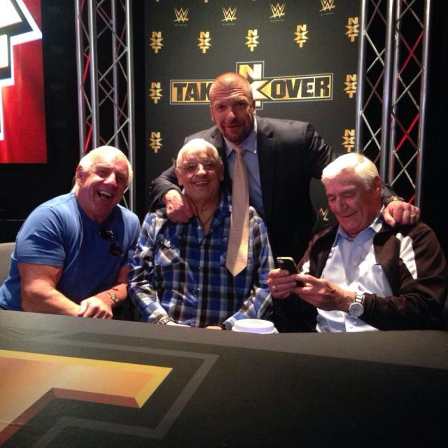 @TripleH You never know who is gonna show up at #NXTTakeOver ; Roc Flair, Dusty Rhodes and Pat Patterson