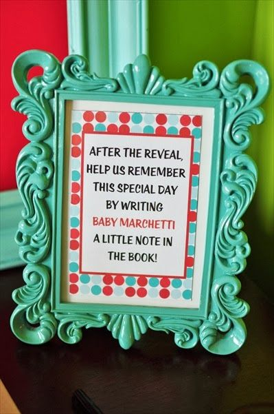 Gender Reveal party ideas; memory book to sign