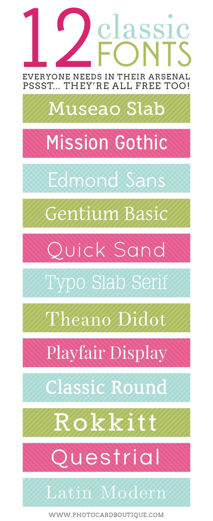 12 Classic Fonts You Need