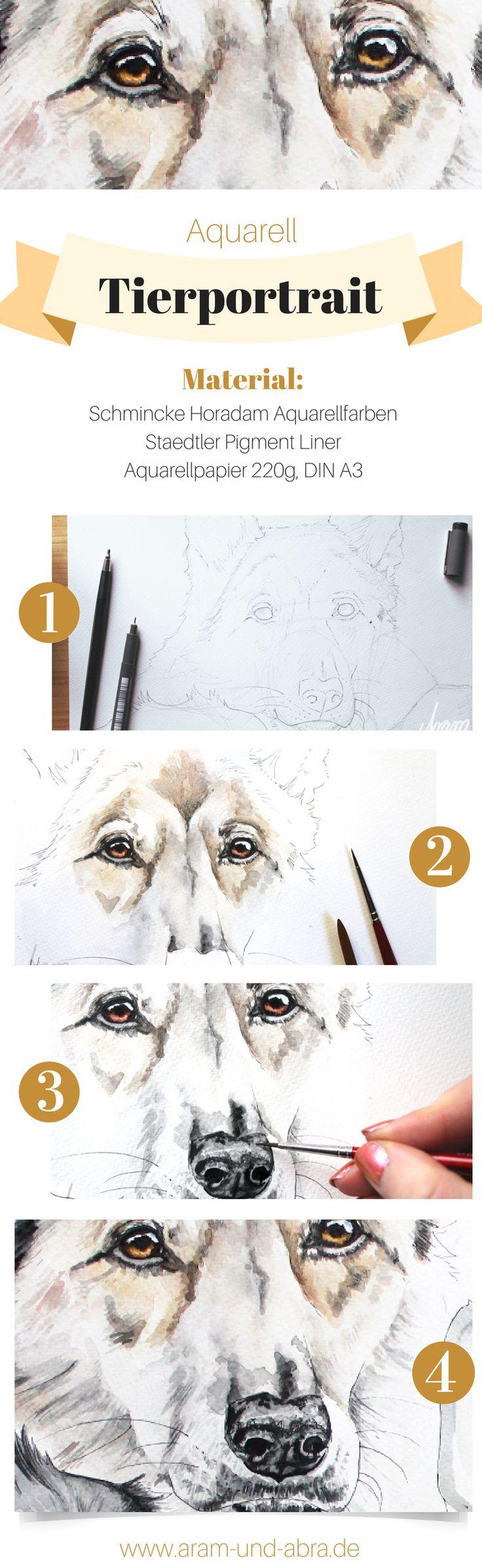 Schritt für Schritt: Hund malen in Aquarell | Portrait | Zeichnen | DIY | Tipps | Anleitung | kreativ | Kunst | Tierportrait | Hunde | Wolf | Husky | Aram und Abra | www.aram-und-abra.de