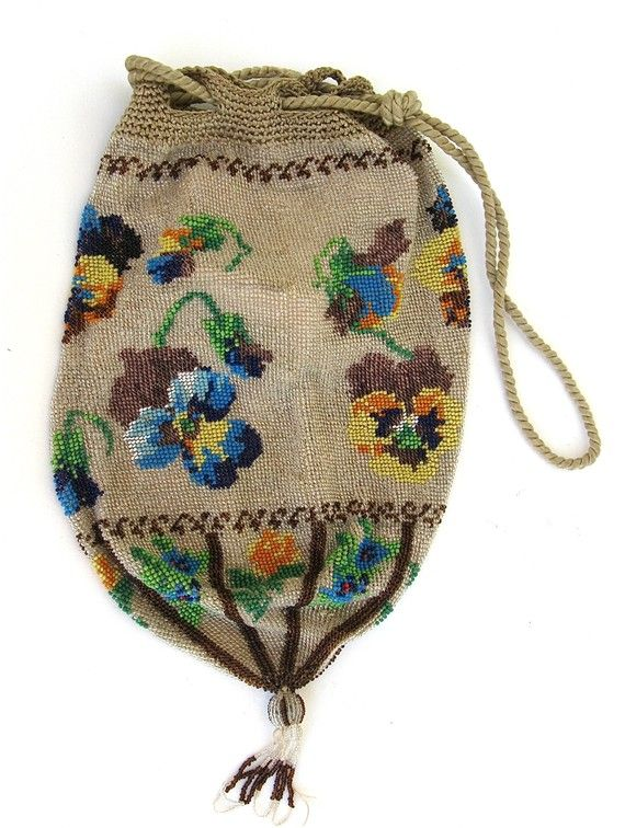 beautiful floral beaded bag Vintage