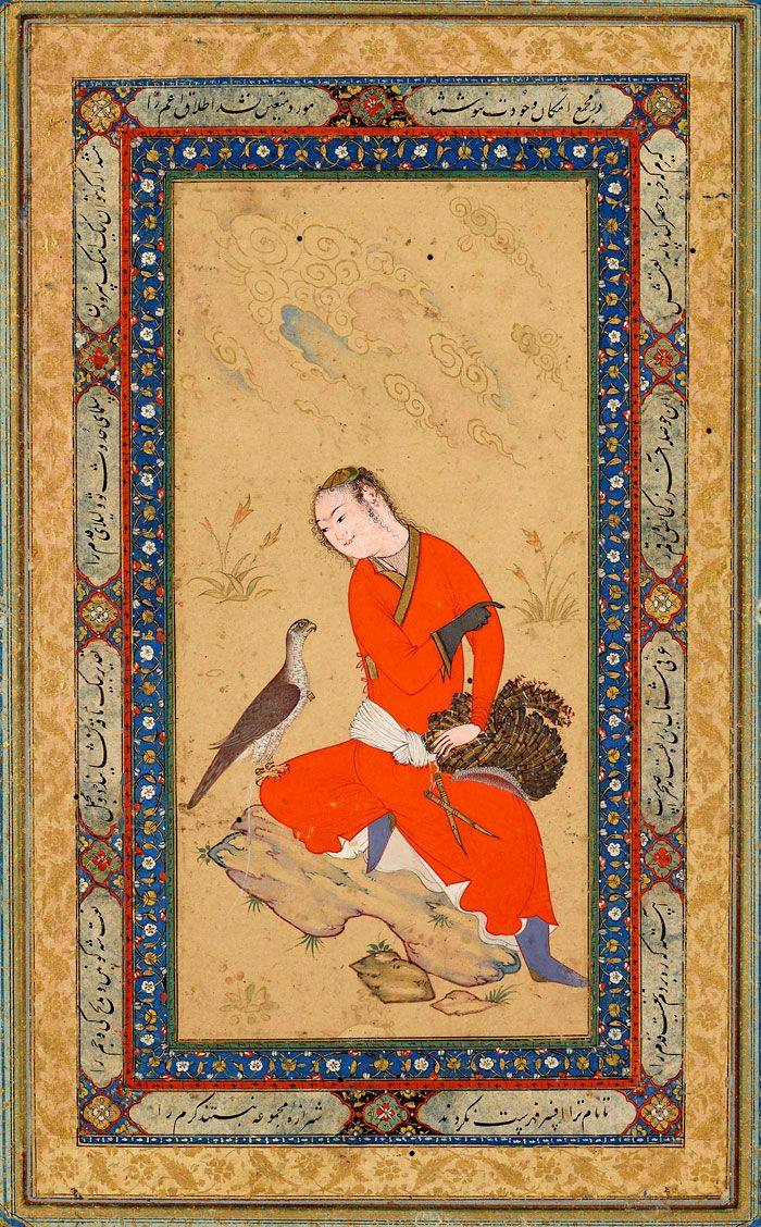 Seated Courtier with His Falcon | Leaf from the Read Persian Album, by Ḥabīb-Allāh al-Mashhadī | Afghanistan, Herat | ca. 1600 | The Morgan Library & Museum