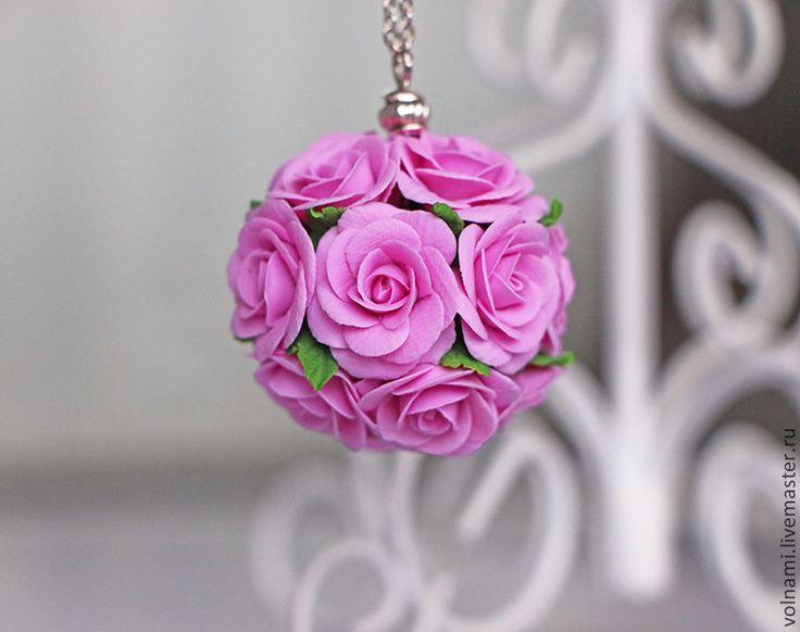 """Букетик роз"" - роза,оригинальный кулон,розовый,кулон,кулон на цепочке"