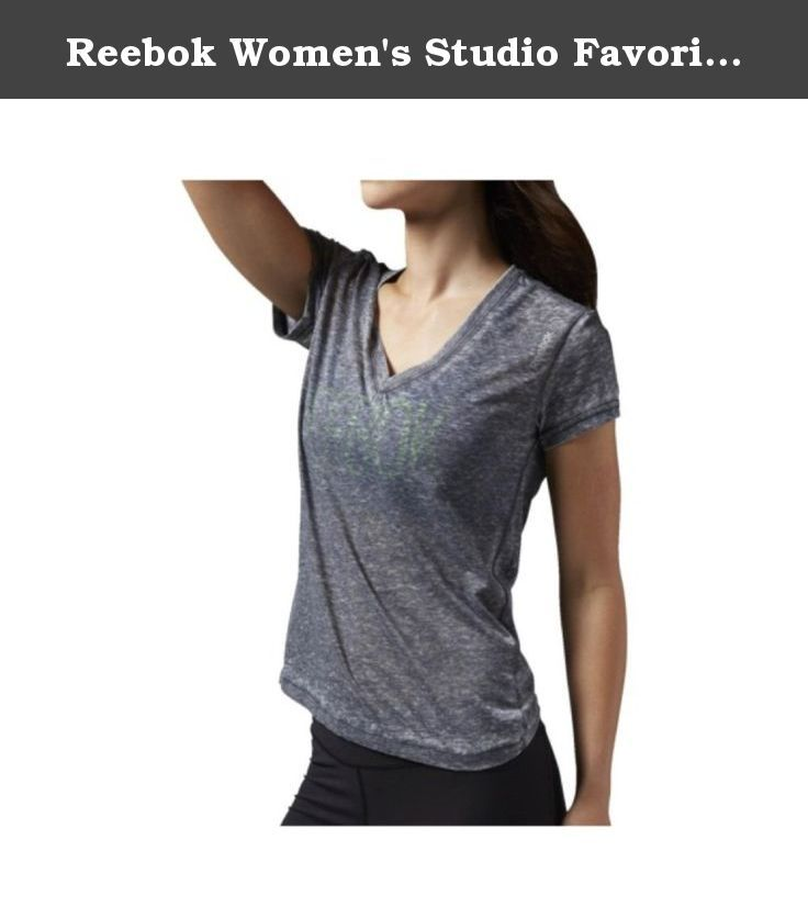 Reebok Women's Studio Favorites Burnout Tee, Black, X-Small. Perfect studio-to-street style. burnout fabric for a soft, lightweight feel low V-Neck silhouette and straight hem.