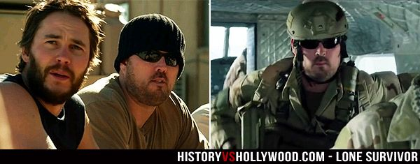 Lone Survivor Marcus Luttrell cameos in the movie. Left, early with Taylor Kitsch and right, later in the Chinook just prior to it being shot down.