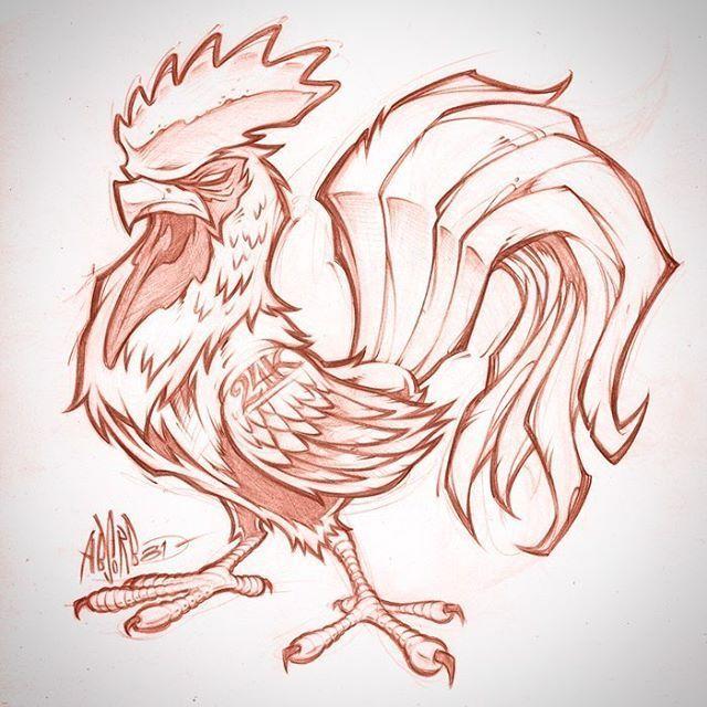 Rooster sketch. Client WIP #rooster #tattoo #logo #mascot #design #pencils #art #graffiti