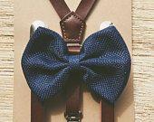 Navy Blue Burlap Bow tie/Coffee Brown Suspender set Ring Bearer Outfit Little Boy Suspenders Rustic Wedding Groomsmen outfit Baby Braces