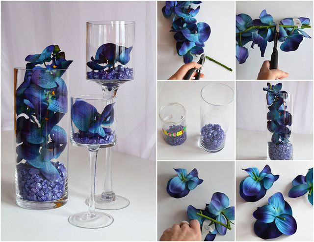 Blue Orchid Centerpiece Submersible. It's as easy as fill, clip, and place! Fill your assorted clear vases with a few inches of colored glass pieces. Clip orchids to appropriate height or into single blooms and insert into vases. For a submersible arrange