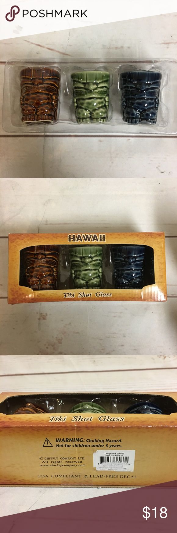 """NEW 3 TIKI MUG SHOT GLASSES Lucky Tiki Hawaii Shot Glasses   Lot of 3 Assorted Tiki Glasses  New in a box  Measures approx. 2.5""""T   Designed in Hawaii  FDA Compliant and Lead Free Decal  Traditional tiki shot glasses are perfect for your favorite island drinks! Also, makes a great addition to any party.   Made of ceramic Other"""
