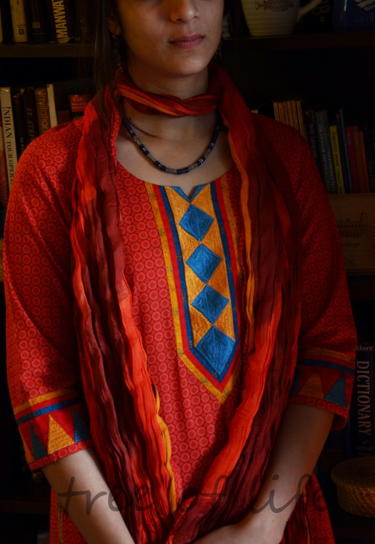 Block printed kurta vth embroidery