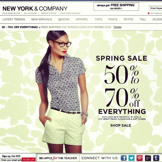 Deal Alert (US): New York & Company Spring Sale 50% to 70% Off Everything + Free Shipping On Orders Over $100. Happy Shopping! #deal #alert #newyork #springsale #freeshipping #clothing #fashion #trend #shopping