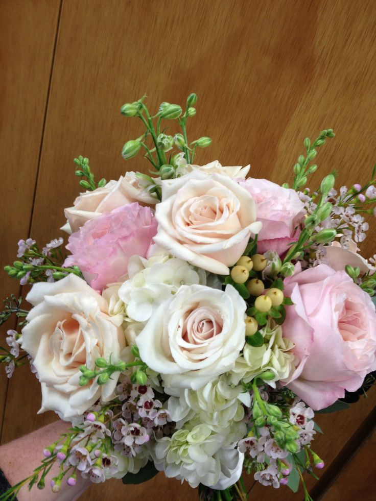 Bridal bouquet in blush pink garden roses champagne roses white hydrangea white hypericum - Garden rose bouquet ...