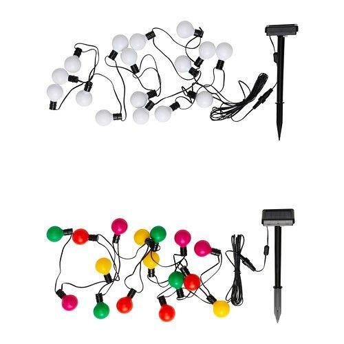 IKEA Solar Powered Outdoor Lighting String 16 Light Globes Multi Colored  Chain | EBay