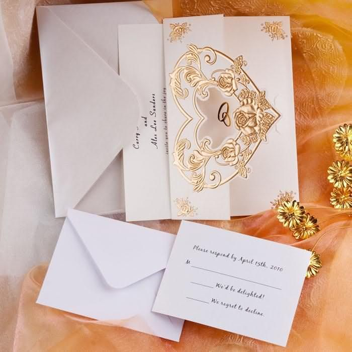 fast shipping wedding invitations%0A Roamtic Gold Heart And Rings Folded Wedding Invitations