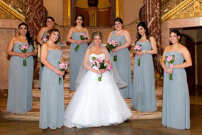 Krysten & Farres - Classic Cleveland Wedding | John Paul Studios, LLC | As seen on Todaysbride.com Real Weddings | Ohio wedding, pink wedding, gray bridesmaid gowns