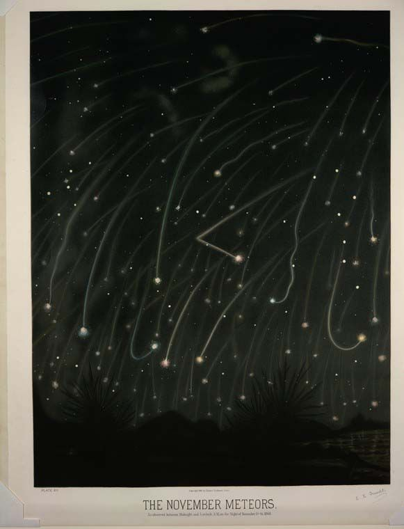Shooting Stars recorded from the 1800s from a single night. I had no idea meteors could make hard turns or swing!