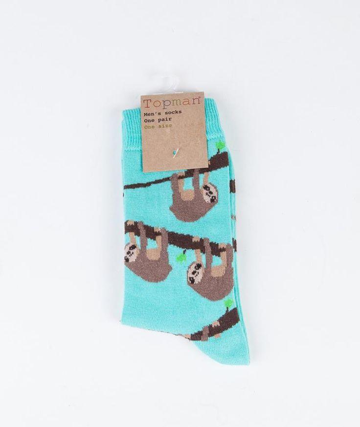 TOPMAN Sloth Motif Socken aqua