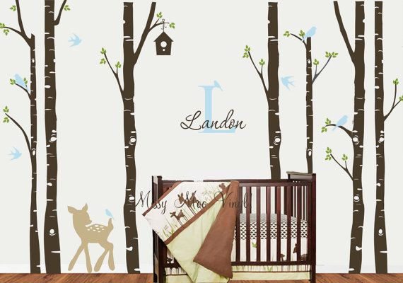 Free application tool birch tree decal with deer monogram for Birch tree mural nursery