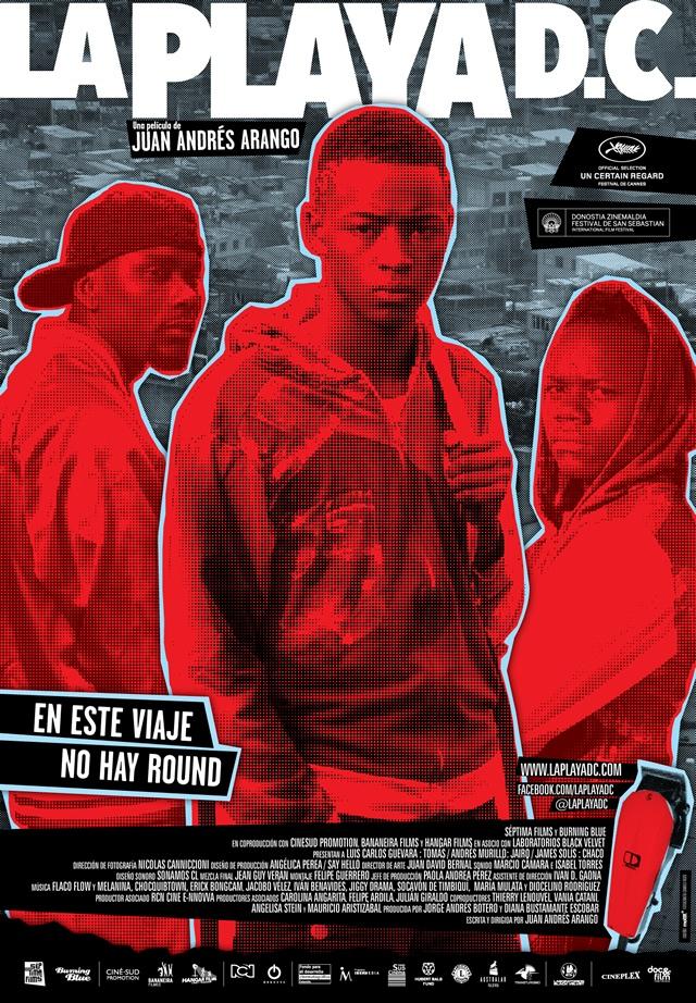 Afiche para la película LA PLAYA D.C. Un diseño mottif.