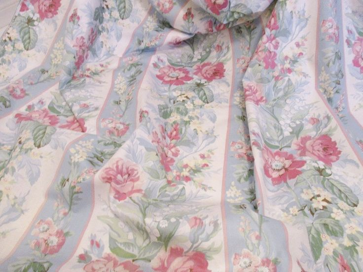 "Excited to share the latest addition to my #etsy shop: VINTAGE PINK FLORAL tablecloth, pink and blue striped floral cotton tablecloth, 102"" L x 52""W, Waverly tea party linens, clean condition http://etsy.me/2Bn8VTM #housewares #cotton #floraltablecloth #pinkbluetablecl"