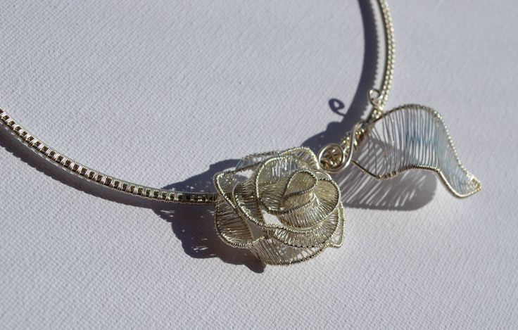OOAK, Delicate, Unique, Statement Necklace With Silver Rose by IacobJewelry on Etsy