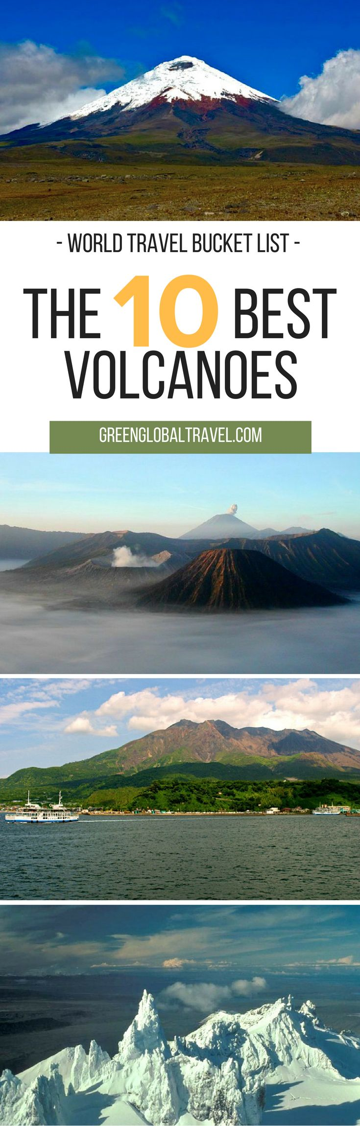 Here is our list of the top 10 volcanoes for your world travel bucket list! | Vesuvius | Kilauea | Sierra Negra | Cotopaxi | Tongariro | Bromo | Arenal | Sakurajima | Shishaldin | Yellowstone Caldera | USA | Alaska | Japan | Costa Rica | Indonesia | Asia