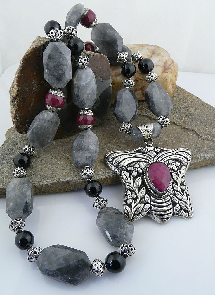 Exquisitely Beautiful Artisan Jade, Grey Quartz, Onyx and Sterling Silver Necklace with a Double Chased Butterfly Pendant