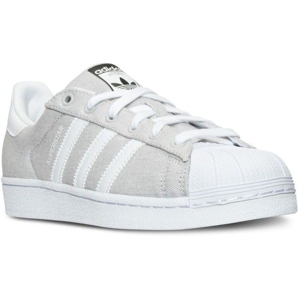 adidas Women's Superstar Casual Sneakers from Finish Line ($80) ❤ liked on Polyvore featuring shoes, sneakers, adidas sneakers, low profile shoes, retro sneakers, adidas shoes and long shoes