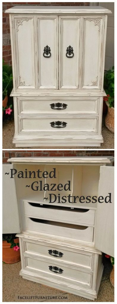 This vintage clothing armoire was painted, glazed, and distressed in Off White, with Tobacco Glaze bringing out the best of the piece as it accents the molding and detailed areas. From Facelift Furniture