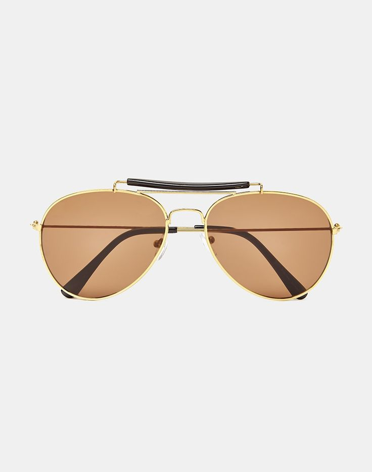 The Idle Man Aviator Sunglasses with Double Bridge - Gold. Mens accessories and Mens clothing at The Idle Man