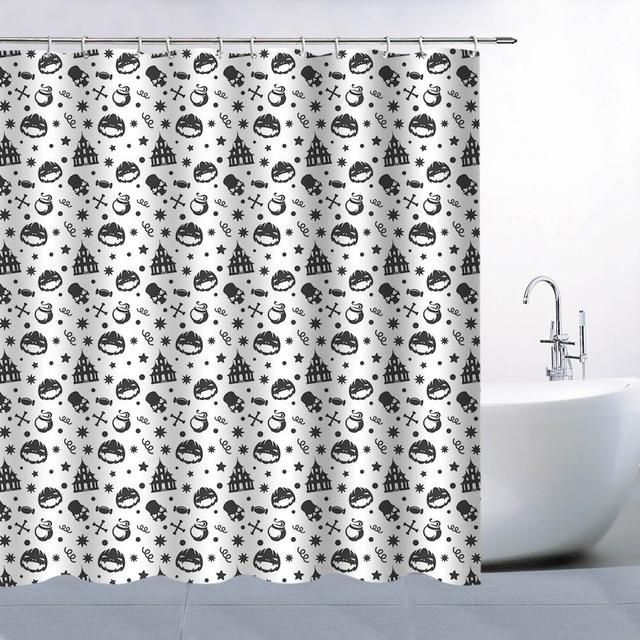 White Theme Black Sugar Skull Bathroom Decoration Shower Curtain