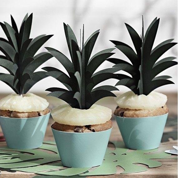 Des cake toppers en forme de feuilles d'ananas, pour une décoration thème tropical ou exotique, Parfaits pour tous vos gâteaux et cupcakes de fête !