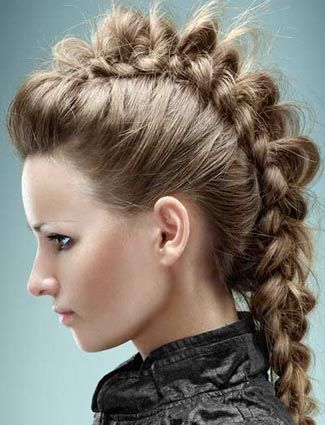 A braided mohawk goes hand in hand with a tough leather jacket, no?